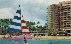 Colorful  Catamaran At Hawaiian Village Hotel Honolulu Hawaii 1960
