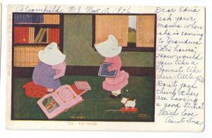 Sunbonnet Girls The Study 1906 Austen Co Vintage UDB PC