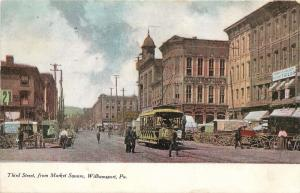 Third Street From Market Square, Williamsport, PA Postcard. Streetcar. Trolley