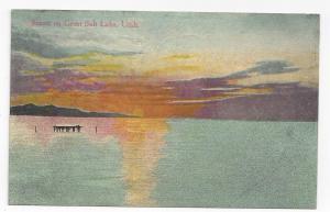 UTAH Great Salt Lake Sunset Vintage Postcard