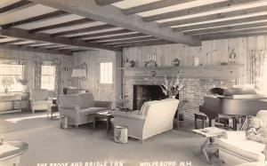 Wolfeboro NH~Brook & Bridle Inn~Lobby Interior~Fireplace~Piano~1948 RPPC