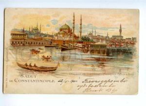 173324 TURKEY Salut de CONSTANTINOPLE Vintage RPPC to Russia