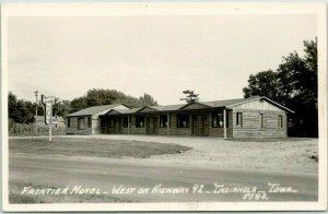Indianola, Iowa RPPC Real Photo Postcard FRONTIER MOTEL Highway 92 Roadside