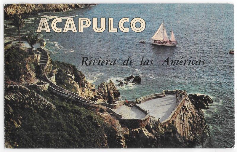 Acapulco Mexico La Quebrada Sailboat Riviera de las Americas Chrome Postcard