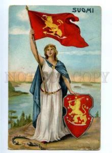 155669 FINLAND Flag & ARM Ragnhild Sellen Vintage postcard