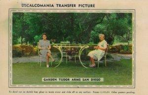 SAN DIEGO , California , 1950s; Garden Tudor Arms, Decalcomania Transfer Picture