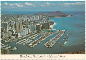 Waikiki from Yacht Harbor to Diamond Head, unused Postcard