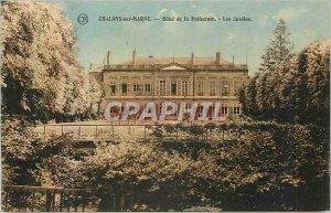 Old Postcard Chalons sur Marne Hotel de la Prefecture Gardens