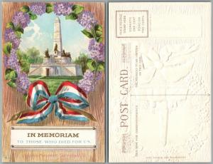 PATRIOTIC ANTIQUE EMBOSSED POSTCARD IN MEMORIAM TO THOSE WHO DIED FOR US