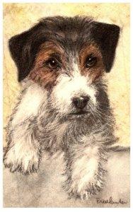 Dog ,    Fox Terrier   artist signed