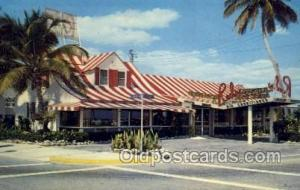 Pompano Beach Florida USA Reds restaurant, Old Vintage Antique Postcard Post ...
