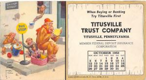 Titusville Trust Co PA~Lawson Wood 1952 Comic Monkey @ Bus Stop~Calendar~Blotter