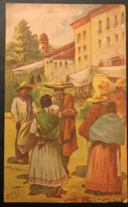 Postcard Used Mexico in Colores Examined by US censor? LB