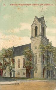 Des Moines IA Corner Tower~Trees Flush to Central Presbyterian~1909 Postcard pc