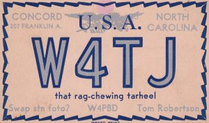 QSL RADIO POSTCAR, CONCORD, North Carolina, 1900-1910's