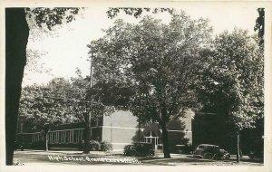 RPPC  GRAND LEDGE, Michigan  MI   HIGH SCHOOL  1930s Car  Real Photo Postcard
