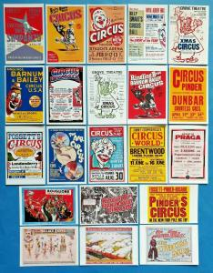 New Collection of 21 Vintage Reproduction Circus Poster Postcards