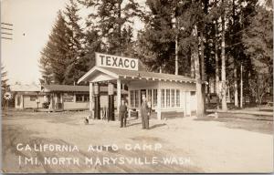 Marysville WA California Auto Camp Texaco Gas Dog Veedo c1929 RPPC Postcard E62