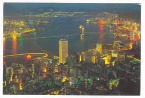 Night view, Central & Eastern District,   Hong Kong, China, PU-1975