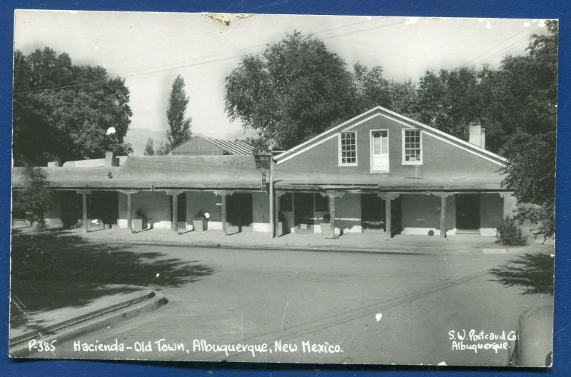 Albuquerque New Mexico nm Old Town Hacienda real photo postcard RPPC