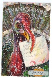 Turkey Digesting the Calendar Thanksgiving Embossed Silver Gilt Litho Postcard