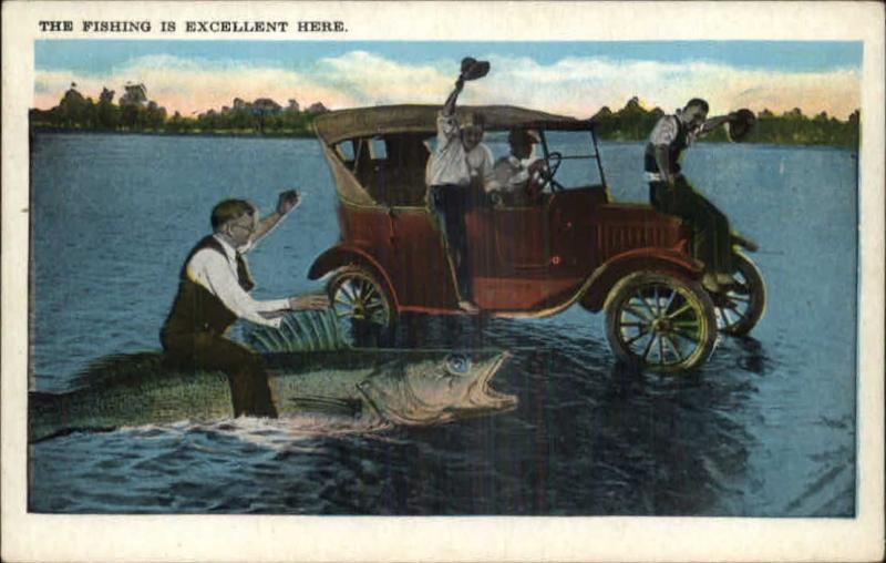 Awesome Man Rides Large Fish Car Drives On Water Fantasy Exaggeration Comic C1920 PC