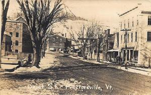 Proctorsville VT Depot street Winter View Storefronts RPPC Postcard