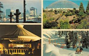 Vancouver BC~Holiday Inn~4 Views-Totem Poles & Skyline-Skiers-Restaurant~1976 Pc