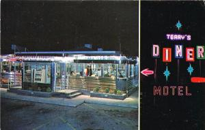 Moosic PA Terry's Diner & Motel Neon Signs Postcard