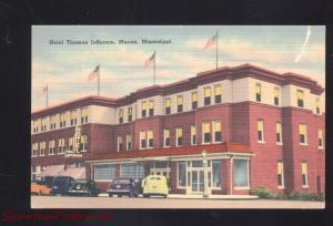 MACON MISSISSIPPI HOTEL THOMAS JEFFERSON VINTAGE LINEN ADVERTISING POSTCARD