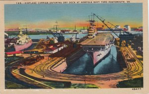 P1753 vintage Virginia VA Portsmouth Norfolk Navy Yard Dry Dock aircraft carrier