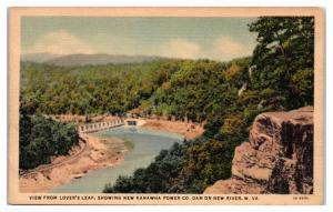 Mid-1900s View of Kanawha Power Co. Dam on New River, WV Postcard