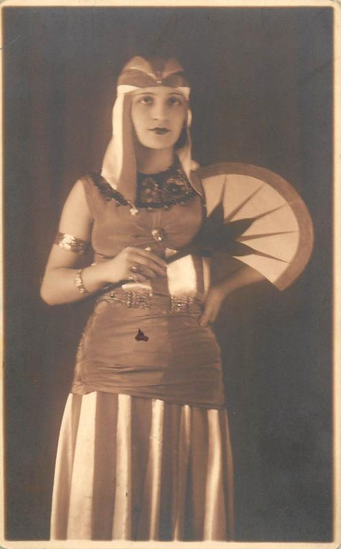 Vintage theatre actress costume with fan dated 1934