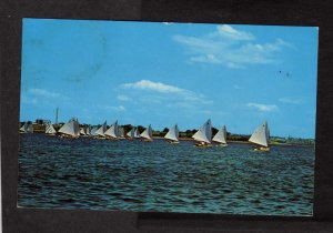 MA Sailing Sail Boats Cape Cod Mass Massachusetts Postcard Postage Due Stamps