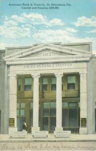 St Petersburg Florida American Bank and Trust Company 1907-1915 Postcard