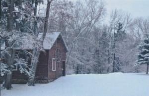 Winter View of Barn in Mendon Ponds Park - Mendon, Monroe County NY, New York