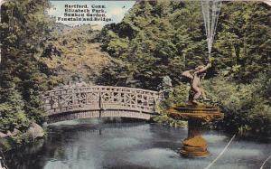 HARTFORD, Connecticut, PU-1912; Elizabeth Park, Sunken Garden, Fountain & Bridge