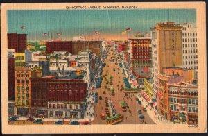 Manitoba ~ WINNIPEG Aerial View of Portage Avenue pm1946 LINEN