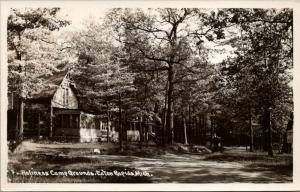 Eaton Rapids MI~Pavilion w/Bargeboard~Screened-In Porch~Holiness Camp~RPPC 1955