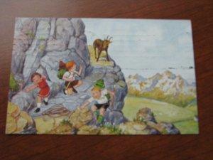 Latvia Postcard 1929 Postmark Children Cartoon Mountain Goat