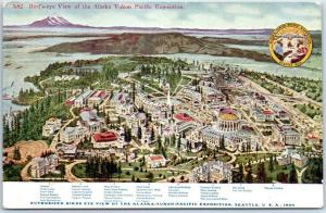 1909 AYPE Seattle World's Fair Postcard Grounds View Map Legend Message on Back