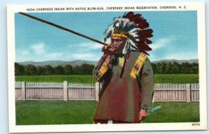 *Cherokee Indian Reservation NC Native Blow Gun Headdress Vintage Postcard C59