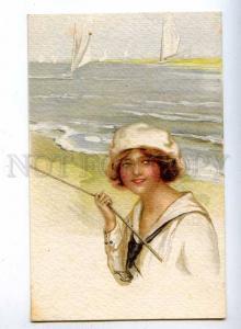 190056 BELLE Lady SAILOR Beach by MONESTIER Vintage Italy PC