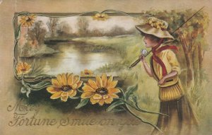 Woman with fishing pole, PU-1915; May Fortune Smile on You, Embossed Flowers