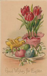 EASTER, 00-10s; Good Wishes for Easter, chick, tulips, colored eggs