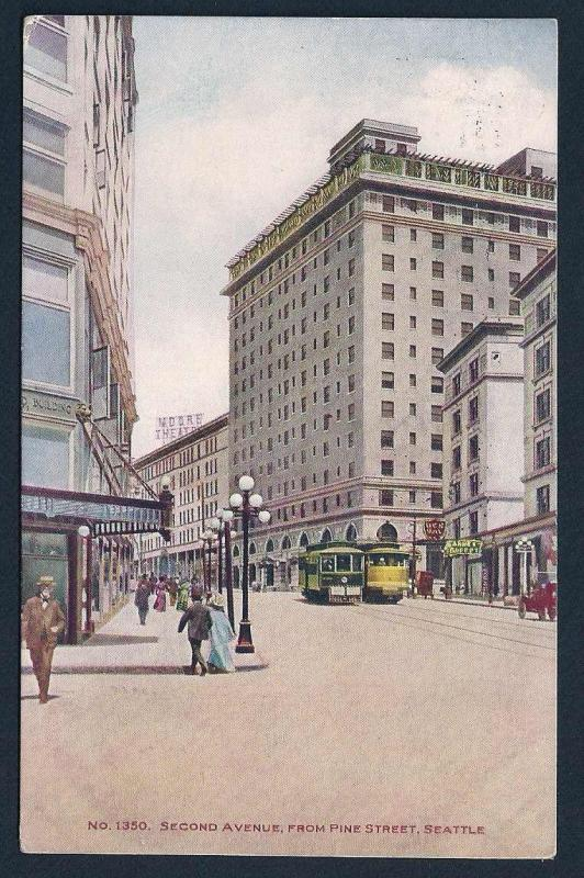 Second Avenue & Pine Street Seattle WA used 1910