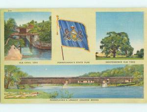 Unused Linen COVERED BRIDGE Pottstown - Reading Pennsylvania PA t8620