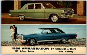 1966 American Motors AMC AMBASSADOR Advertising Postcard Multi-View 4-Door Sedan