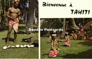french polynesia, Dancing Girls, Man cutting Coconuts (1960s)