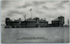 1933 Chicago World's Fair Postcard Replica of OLD FORT DEARBORN w/ Cancel
